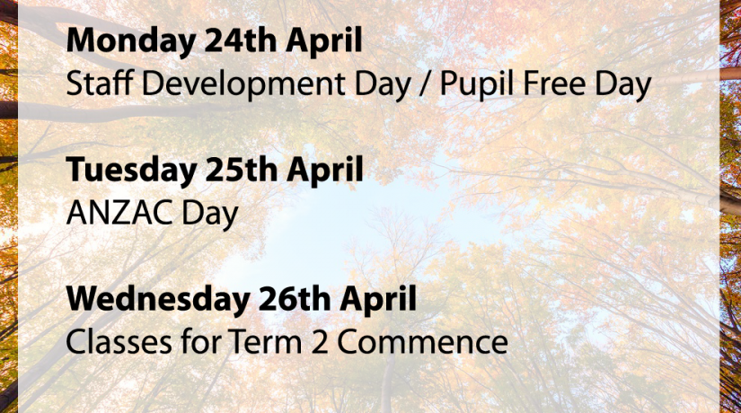 Dates for Term 2